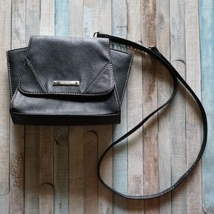 Black & Silver Small Cross Body Structured Bag